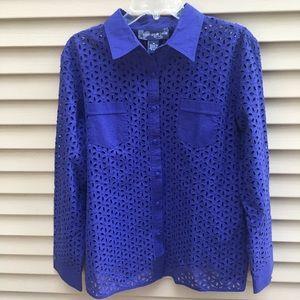 EUC Susan Graver style indigo button-up top jacket